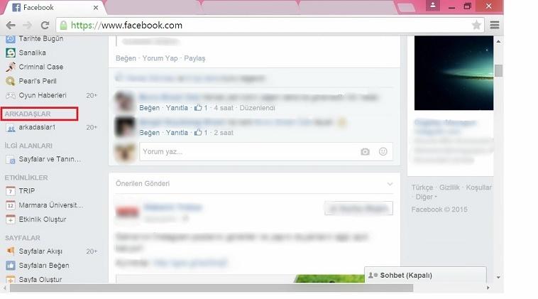 facebook arkadaş listesi 1