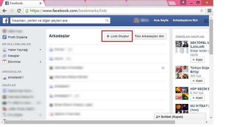 facebook arkadaş listesi 2